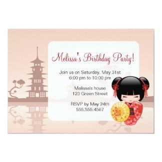 Fête d'anniversaire mignonne de geisha de poupée carton d'invitation  12,7 cm x 17,78 cm