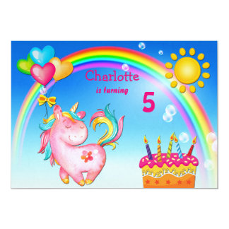 Fête d'anniversaire mignonne de licorne et carton d'invitation  12,7 cm x 17,78 cm