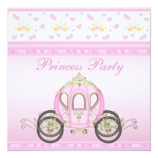Fête d'anniversaire mignonne de princesse Coach Carton D'invitation 13,33 Cm