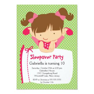 Fête d'anniversaire MIGNONNE de Sleepover Carton D'invitation 12,7 Cm X 17,78 Cm
