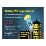 Fête d'anniversaire mignonne de super héros de vol invitation