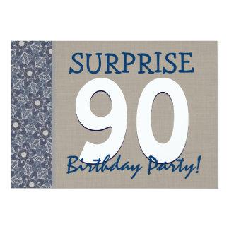 Fête d'anniversaire moderne de surprise de bleu et carton d'invitation  12,7 cm x 17,78 cm