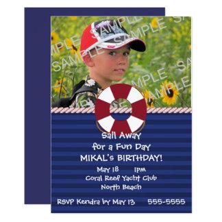 Fête d'anniversaire nautique d'anneau de sauveteur carton d'invitation  12,7 cm x 17,78 cm