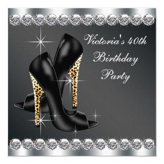 Fête d'anniversaire noire chic de la femme carton d'invitation  13,33 cm