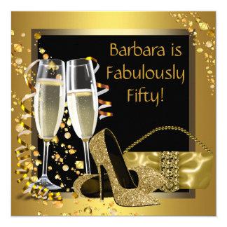Fête d'anniversaire noire de Champagne d'or Carton D'invitation 13,33 Cm
