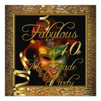 Fête d'anniversaire noire de l'or 40 fabuleux de carton d'invitation  13,33 cm