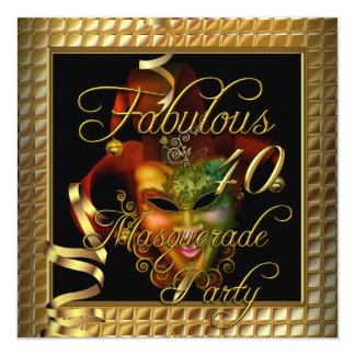Fête d'anniversaire noire de l'or 40 fabuleux de faire-part personnalisé