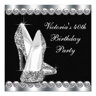 Fête d'anniversaire noire élégante de la femme carton d'invitation  13,33 cm