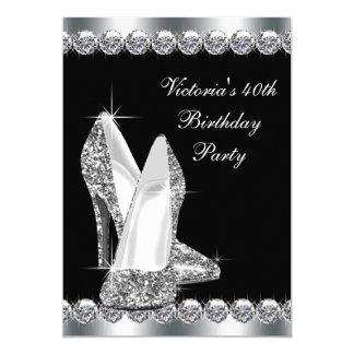 Fête d'anniversaire noire élégante de la femme carton d'invitation  12,7 cm x 17,78 cm