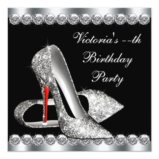 Fête d'anniversaire noire élégante de la femme invitations
