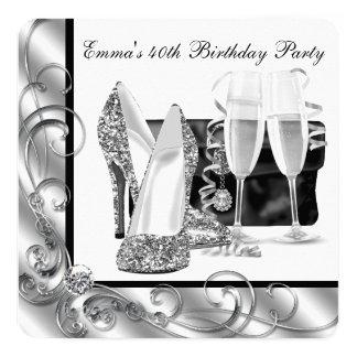 Fête d'anniversaire noire et blanche de la femme carton d'invitation  13,33 cm