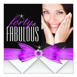 Fête d'anniversaire noire pourpre fabuleuse de 40 carton d'invitation  13,33 cm