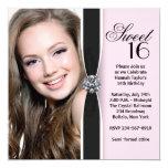 Fête d'anniversaire noire rose du bonbon 16 à carton d'invitation  13,33 cm