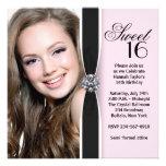 Fête d'anniversaire noire rose du bonbon 16 à invitations personnalisables