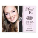 Fête d'anniversaire noire rose du bonbon 16 à cartons d'invitation