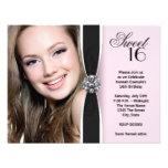 Fête d'anniversaire noire rose du bonbon 16 à phot cartons d'invitation