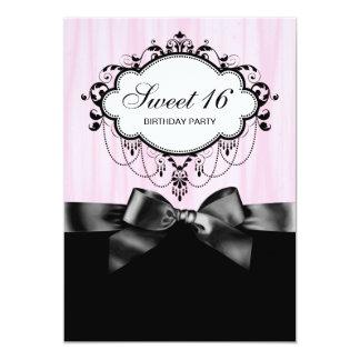 Fête d'anniversaire noire rose du bonbon 16 carton d'invitation  12,7 cm x 17,78 cm