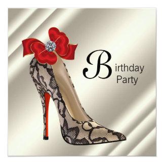 Fête d'anniversaire noire rouge de chaussure de carton d'invitation  13,33 cm