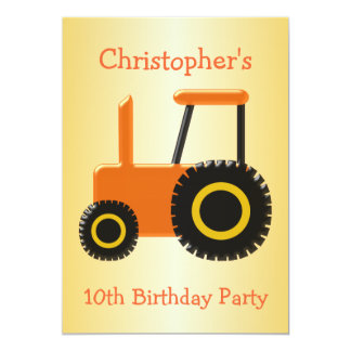 Fête d'anniversaire orange de tracteur carton d'invitation  12,7 cm x 17,78 cm