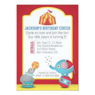Fête d'anniversaire orientée d'amusement de cirque carton d'invitation  11,43 cm x 15,87 cm