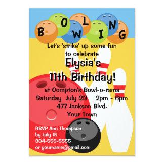 Fête d'anniversaire personnalisable de bowling carton d'invitation  12,7 cm x 17,78 cm