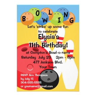Fête d'anniversaire personnalisable de bowling faire-parts