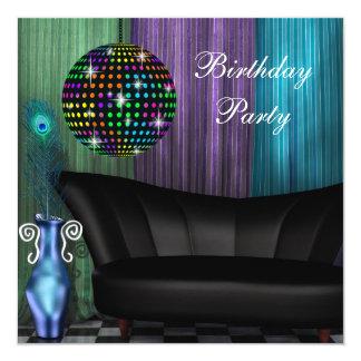 Fête d'anniversaire pourpre de disco de boule de invitations