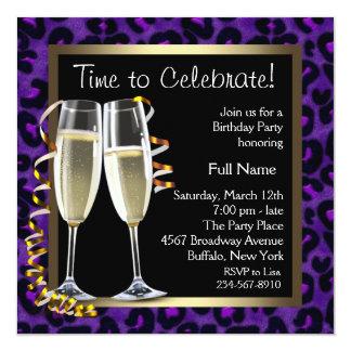 Fête d'anniversaire pourpre de léopard de carton d'invitation  13,33 cm