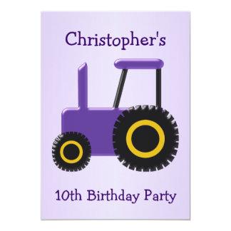 Fête d'anniversaire pourpre de tracteur carton d'invitation  12,7 cm x 17,78 cm