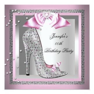 Fête d'anniversaire rose de chaussure de talon invitation personnalisable