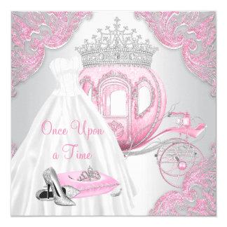 Fête d'anniversaire rose de fantaisie de princesse carton d'invitation  13,33 cm