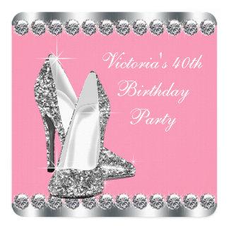 Fête d'anniversaire rose de la femme carton d'invitation  13,33 cm