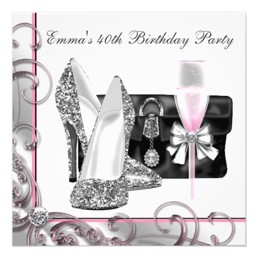 Fête d'anniversaire rose de la femme faire-part