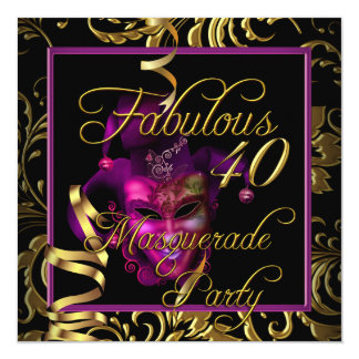 Fête d'anniversaire rose de l'or 40 fabuleux de carton d'invitation  13,33 cm