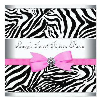 Fête d'anniversaire rose de zèbre carton d'invitation  13,33 cm
