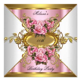 Fête d'anniversaire rose d'or blanc de roses carton d'invitation  13,33 cm