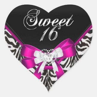 Fête d'anniversaire rose du sweet sixteen 16 de sticker cœur
