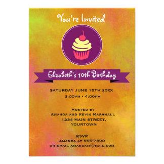 Fête d'anniversaire rose et jaune de petit gâteau carton d'invitation  12,7 cm x 17,78 cm