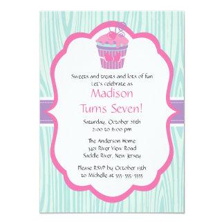 Fête d'anniversaire rose et pourpre mignonne de carton d'invitation  12,7 cm x 17,78 cm