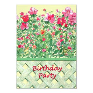 Fête d'anniversaire rose et verte de frontière de carton d'invitation  12,7 cm x 17,78 cm