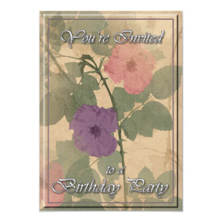 Fête d'anniversaire rose poussiéreuse antique carton d'invitation  12,7 cm x 17,78 cm