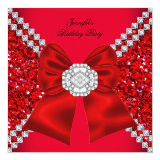 Fête d'anniversaire rouge de diamants de faire-part personnalisé