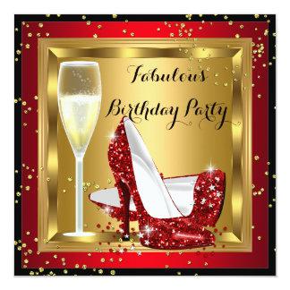 Fête d'anniversaire rouge de talons hauts de carton d'invitation  13,33 cm
