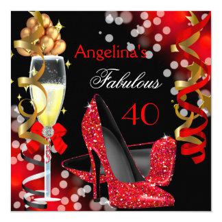 Fête d'anniversaire rouge fabuleuse de 40 de carton d'invitation  13,33 cm