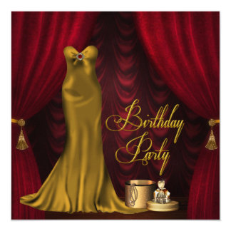 Fête d'anniversaire rouge rouge de l'or de la carton d'invitation  13,33 cm
