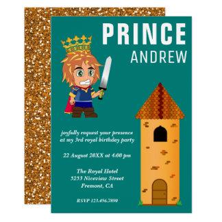 Fête d'anniversaire royale mignonne de prince carton d'invitation  12,7 cm x 17,78 cm
