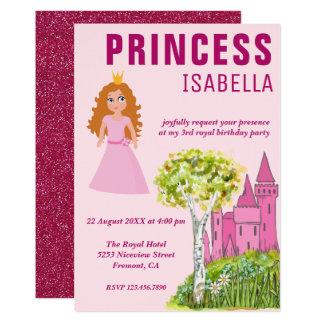 Fête d'anniversaire royale mignonne de princesse carton d'invitation  12,7 cm x 17,78 cm