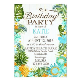 Fête d'anniversaire rustique de plage de Luau Carton D'invitation 12,7 Cm X 17,78 Cm
