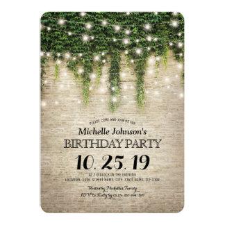 Fête d'anniversaire rustique de vignoble de pierre carton d'invitation  12,7 cm x 17,78 cm