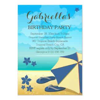 Fête d'anniversaire tropicale bleue moderne de carton d'invitation  12,7 cm x 17,78 cm